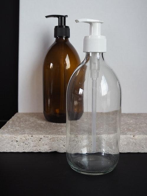 Glasflasche mit Pumpkopf und Verschluss   500 ml