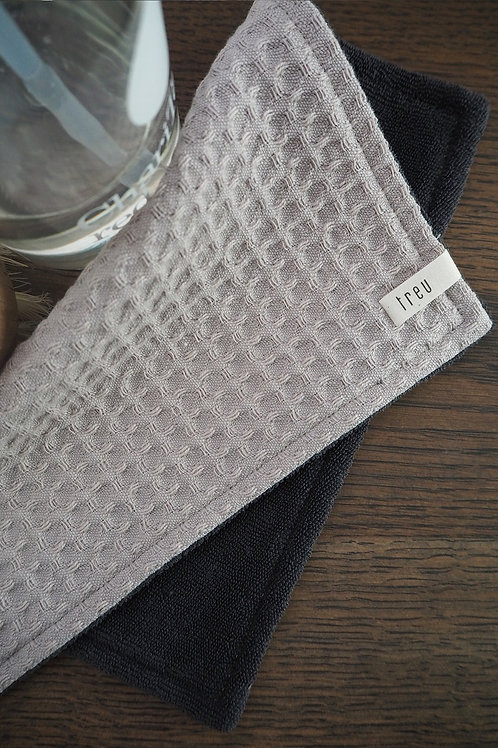 2 Spül- und Reinigungslappen aus Waffelpique & Frottee | asche & dunkelgrau
