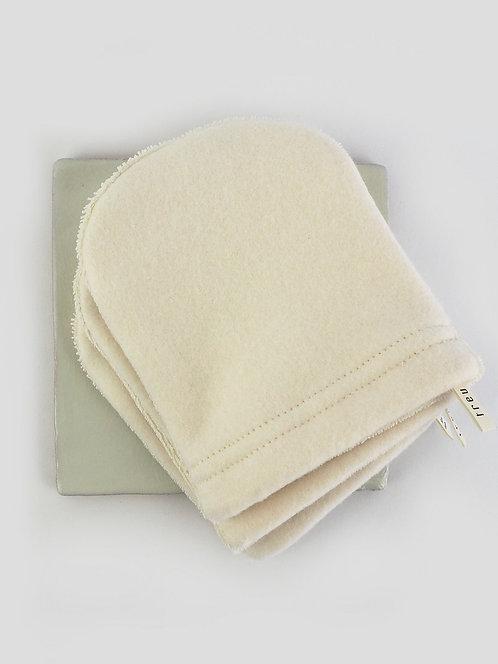 3 Abschmink-/ Waschhandschuhe aus Fleece & Frottee | ecru