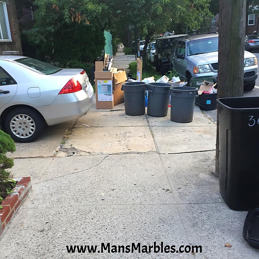 Rude homeowner blocks entire sidewalk with their trash