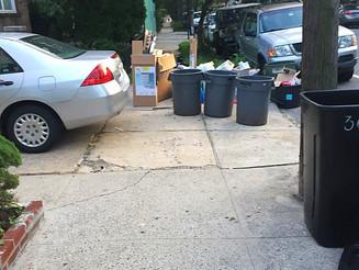 Trashcans Block Entire Sidewalk