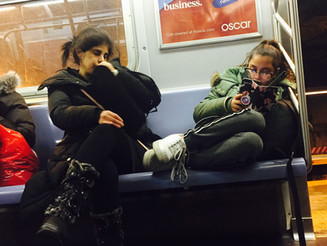 Mother Poorly Teaching Daughter the Art of Womanspreading