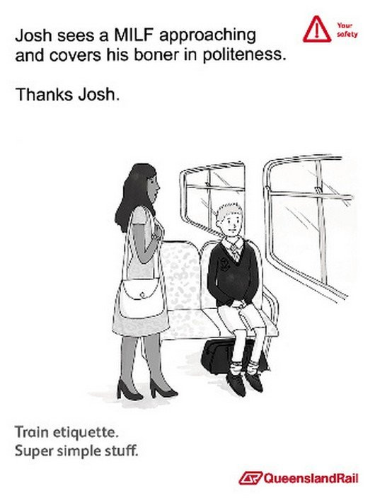 Train etiquette parody poster, josh sees a MILF approaching and hides his boner
