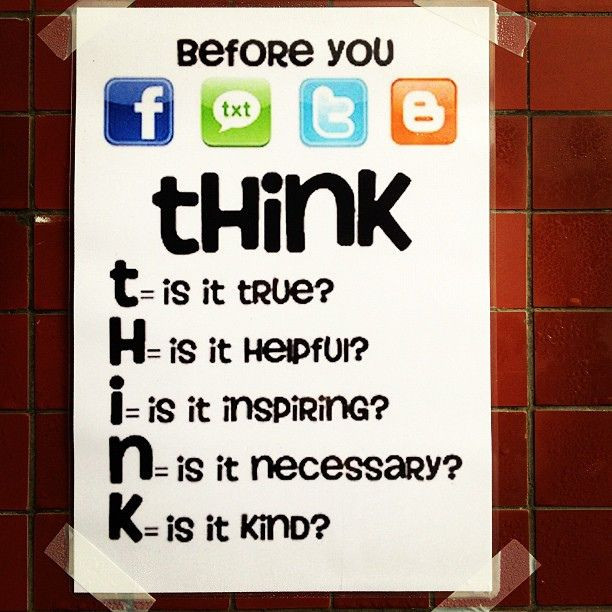 THINK before your next social media post True Helpful inspiring necessary kind