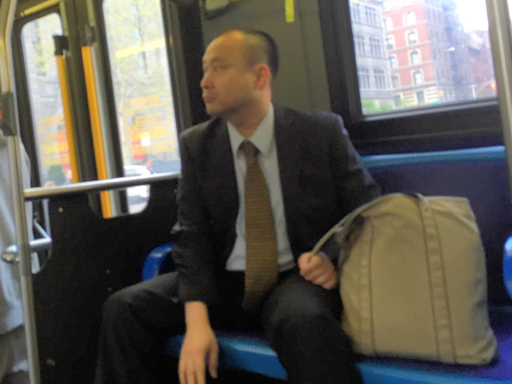 Manspreading, bagspreading with testicles bulging on the bus #1