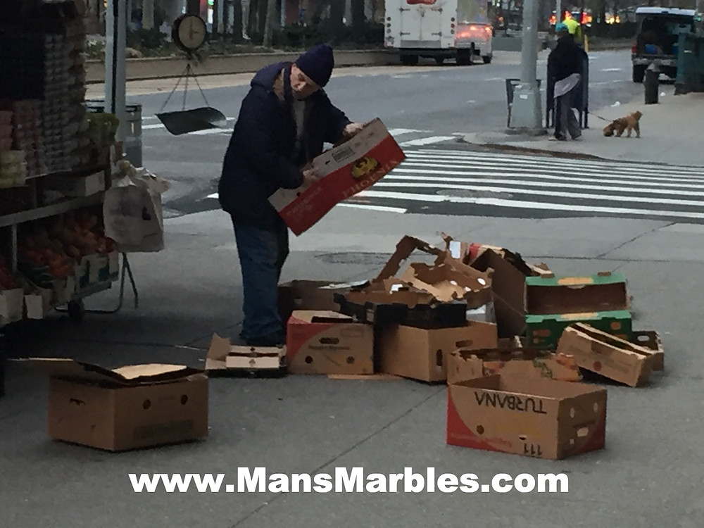 Produce stand employee hogs entire sidewalk with empty boxes #1
