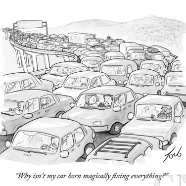 tom toro why isnt my car horn magically fixing everything new yorker cartoon