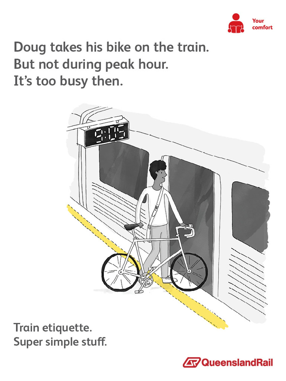 Train etiquette poster, doug only takes bike on the train during non peak hours