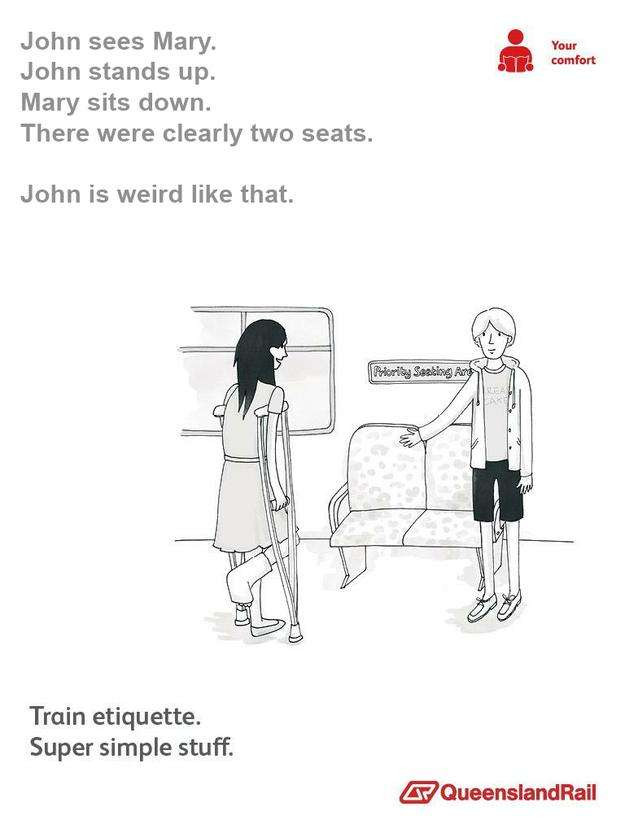 Train etiquette parody poster, john stands up for mary even though there was clearly 2 other available seats