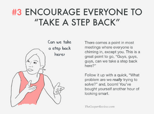 ten tricks to appear smart in meetings - encourage everyone to take a step back