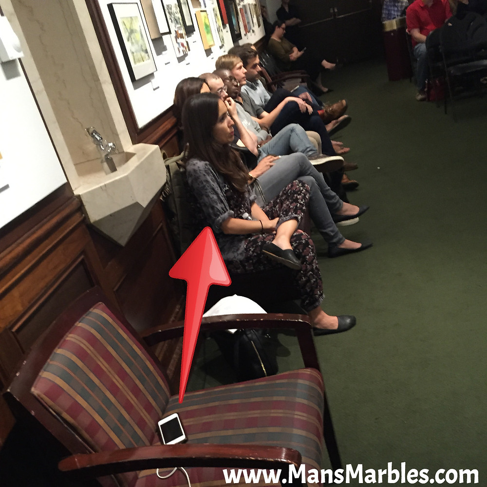 Dumb Woman hogs seat with smartphone at 92y Event in NYC