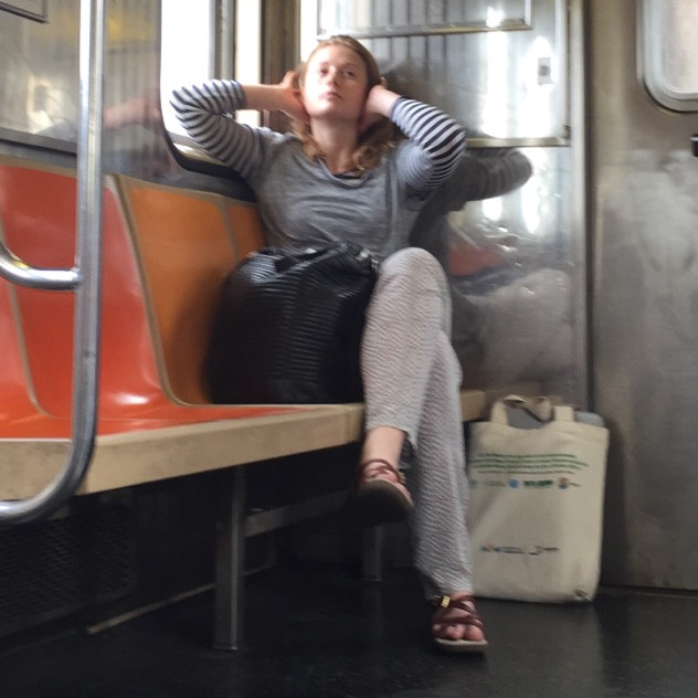 A seat hog womanspreading in deep thought #5