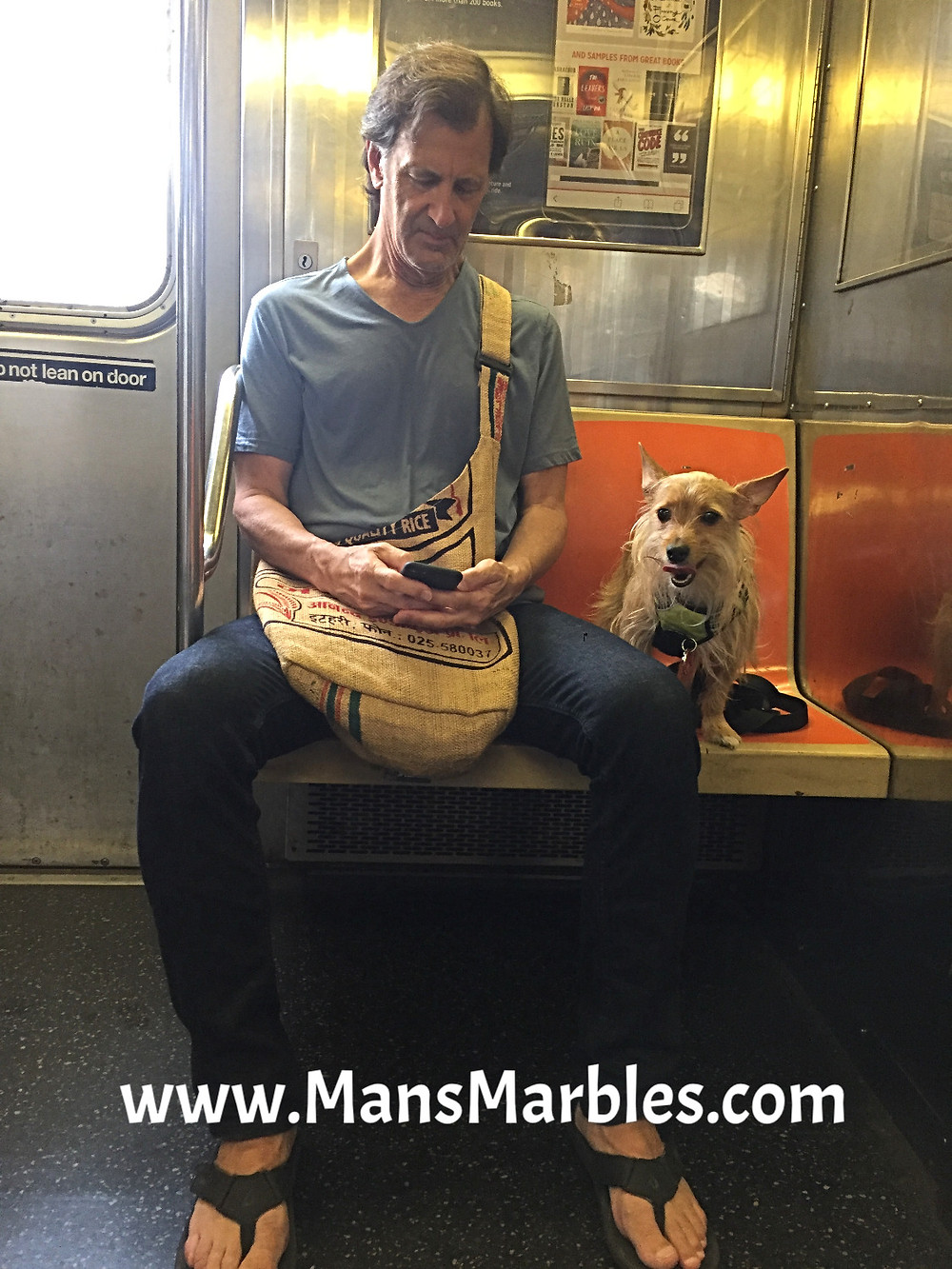 Manspreading seathog makes room for his dog on nyc subway train