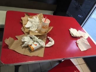 Slob Leaves His Mess on Burger King Table