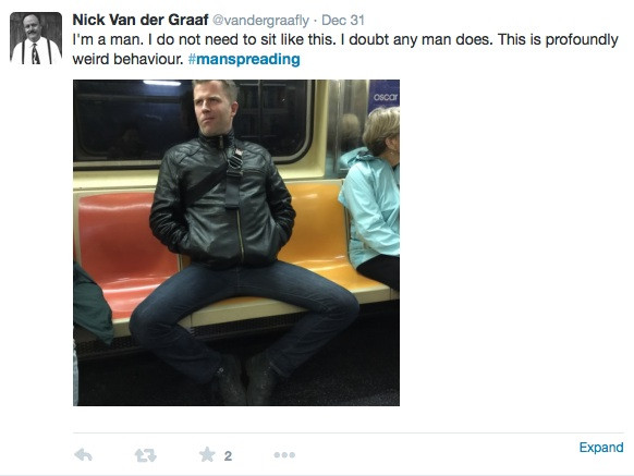 twitter Example of manspreading 5