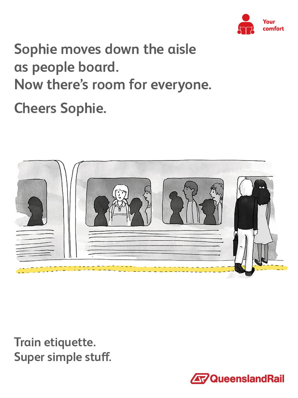 Train etiquette poster, sophie moves to the middle of the aisle to make room for more passengers