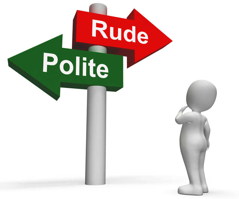Graphic of man looking at a sign debating which path to follow, being rude or polite