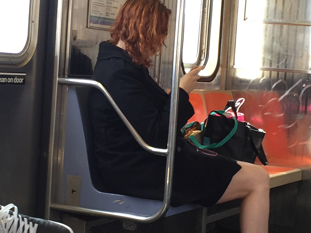 Womanspreading on an empty train