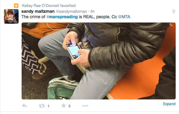twitter Example of manspreading 4