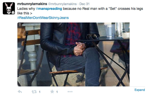 pro manspreading guys shouldn't cross their legs knee over knee like women picture