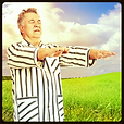 Man sleepwalking through field in pajamas, Walking Etiquette Poll Category