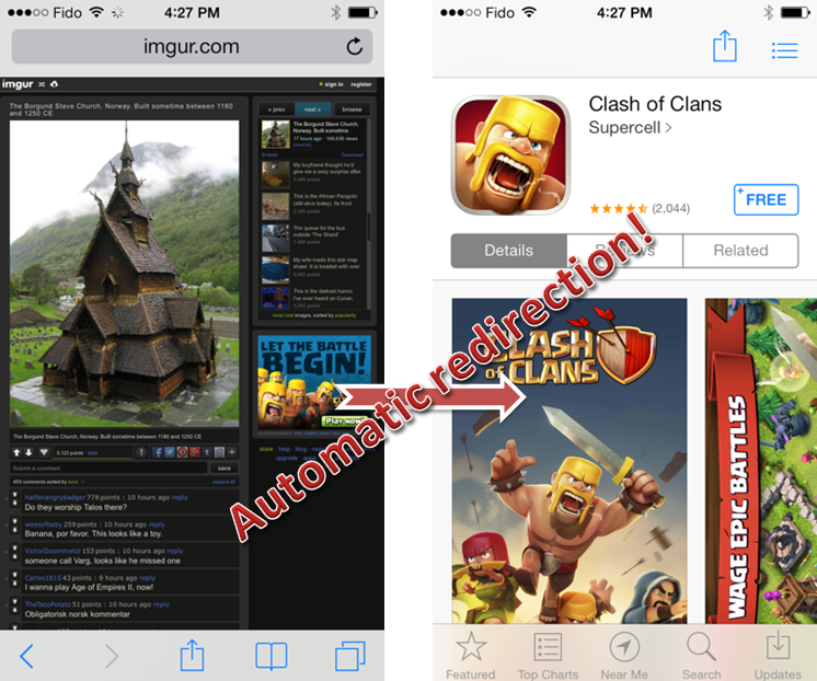 Example of annoying Ad2Store redirect by Clash of Clans on smartphone