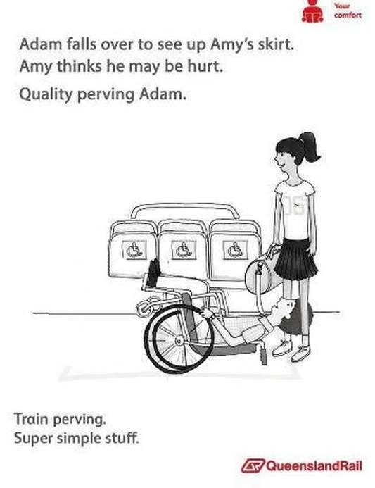 Train etiquette parody poster, adam in whhelchair falls over and looks up amy's skirt
