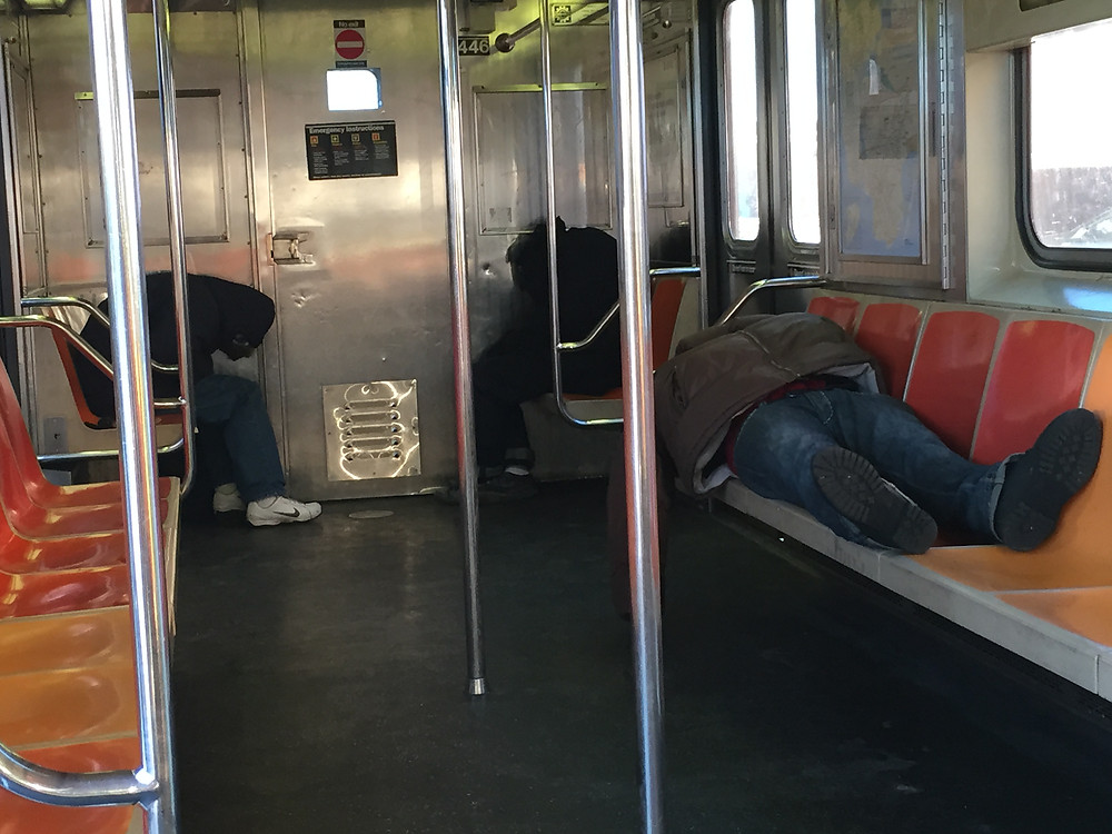 slumber party on the 1 train in nyc, 3 men sleeping #2
