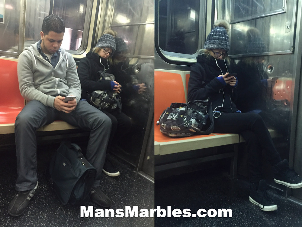 manspreader punishes a bagspreader on the subway train