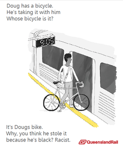 Train etiquette parody poster, do you think doug stole this bike because he is black? racist