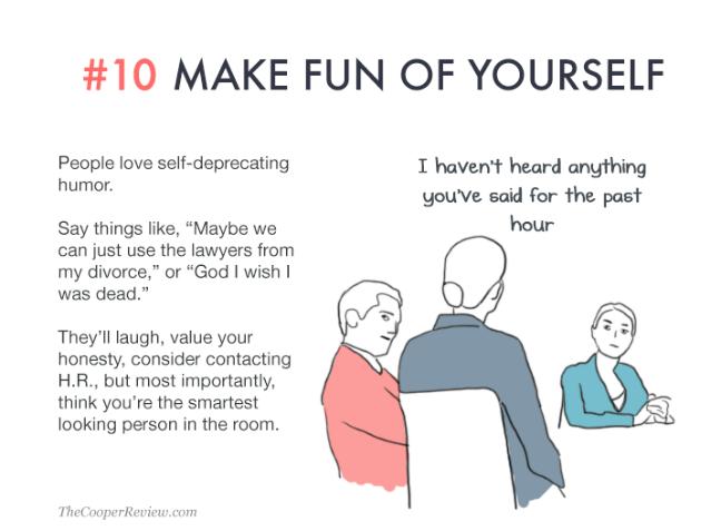 ten tricks to appear smart in meetings - make fun of yourself