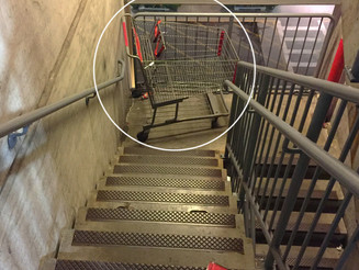 Shopping Cart Left in Stairwell
