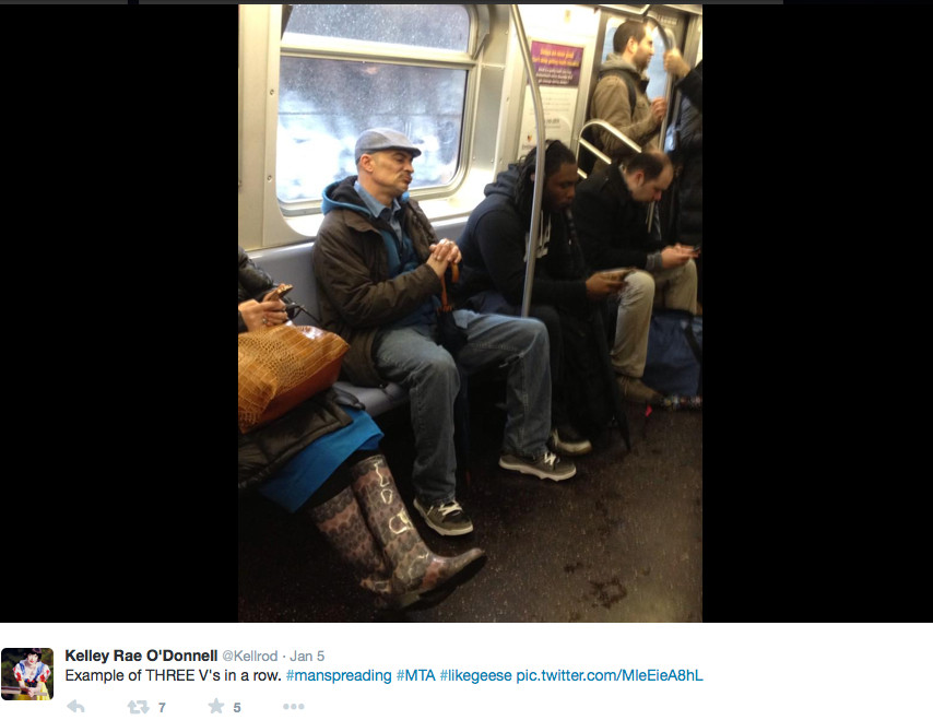 twitter Example of manspreading 1
