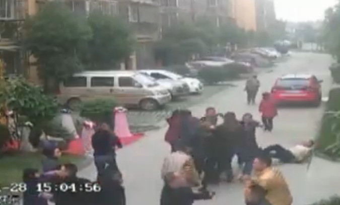 Chinese Gangsters gatecrashing WEDDING caught on CCTV as thugs beat up family and guests