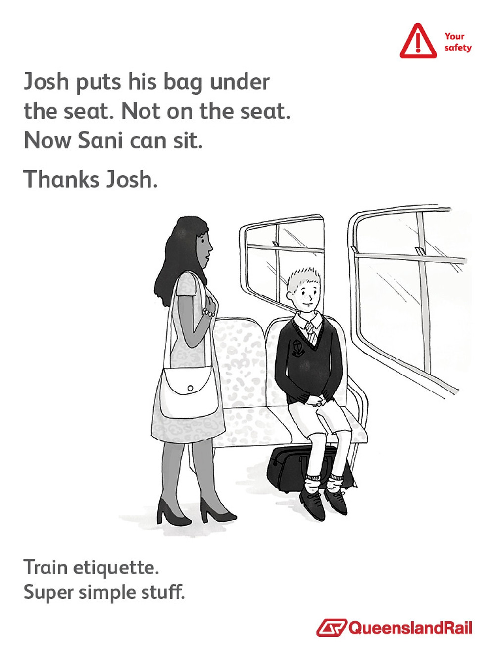 Train etiquette poster, josh puts his bag under the seat, not on it