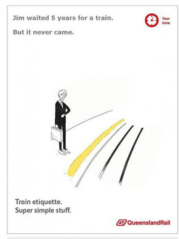 Train etiquette parody poster, jim waited 5 years for the train but it never came