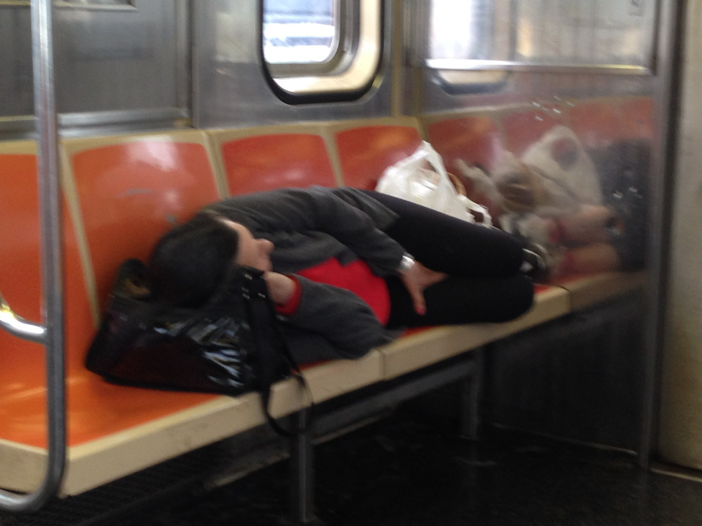 Woman Sleeping on the 1 train takes up 4 seats #2