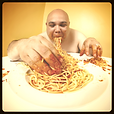 Gluttonous bald man eating spaghetti with his hands, Dining Etiquette Poll Category