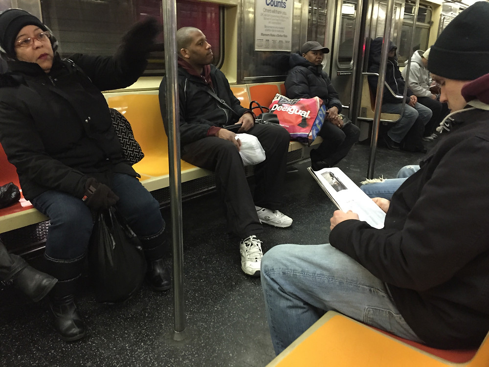 2 people taking up 4 seats on the 1 train in NYC by bagspreading #2