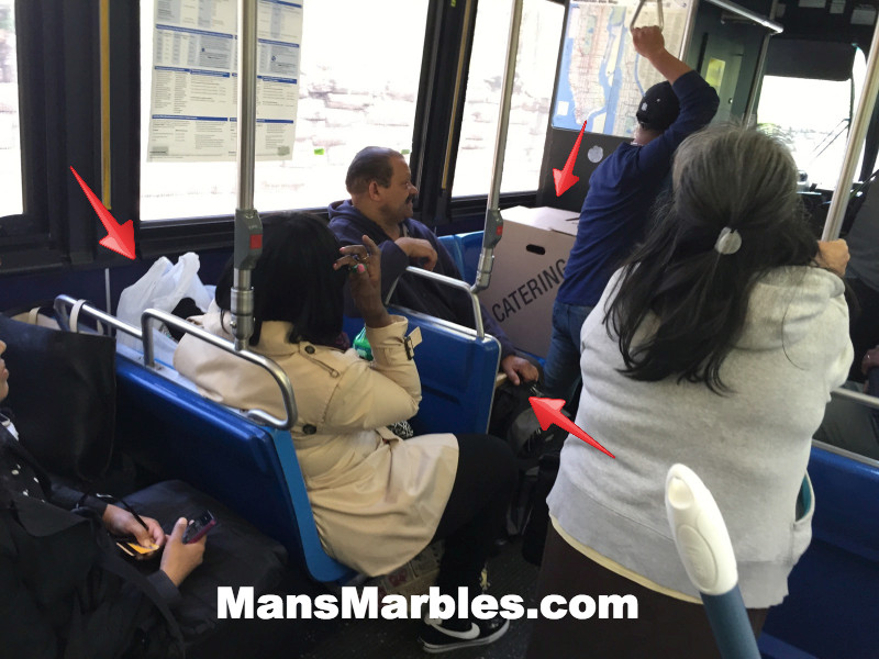 3 people hogging multiple seats on a bus in nyc