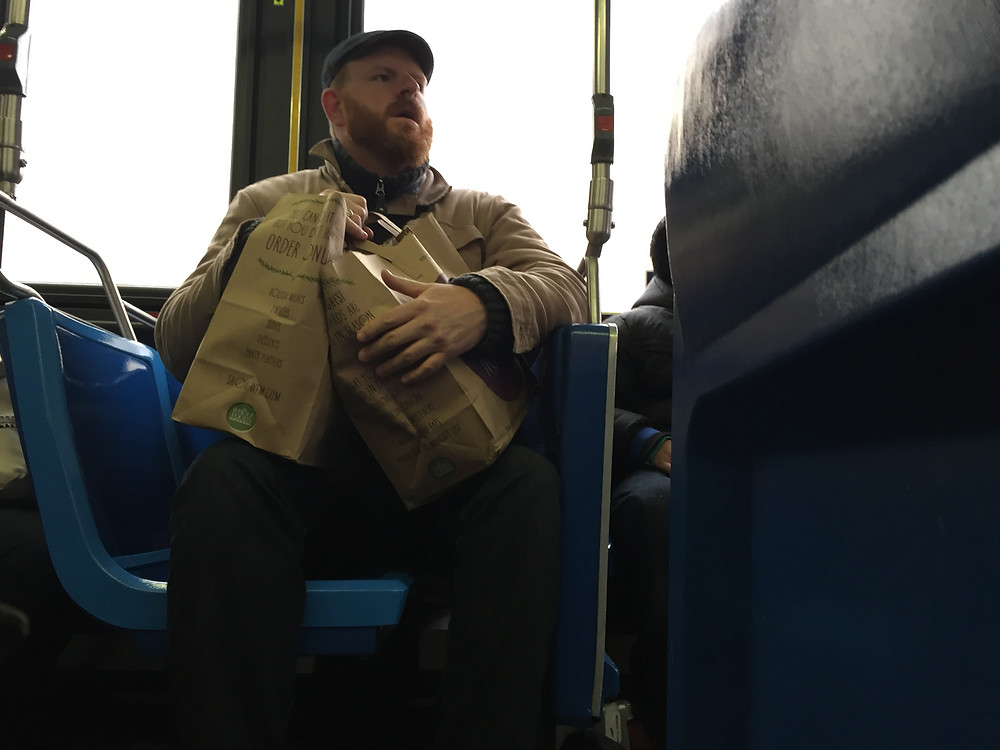 Manspread blocking the aisle on bus in new york, bagspread hogging seat behind #3