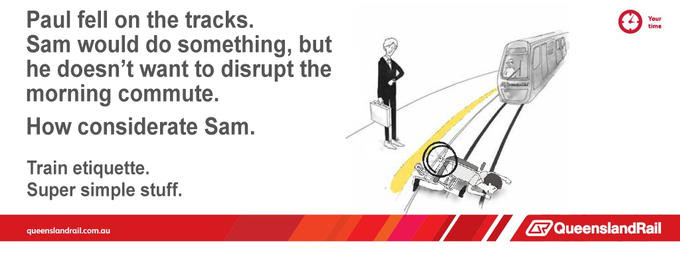 Train etiquette parody poster, sam didn't help person who fell on the tracks so he didn't disrupt morning commute