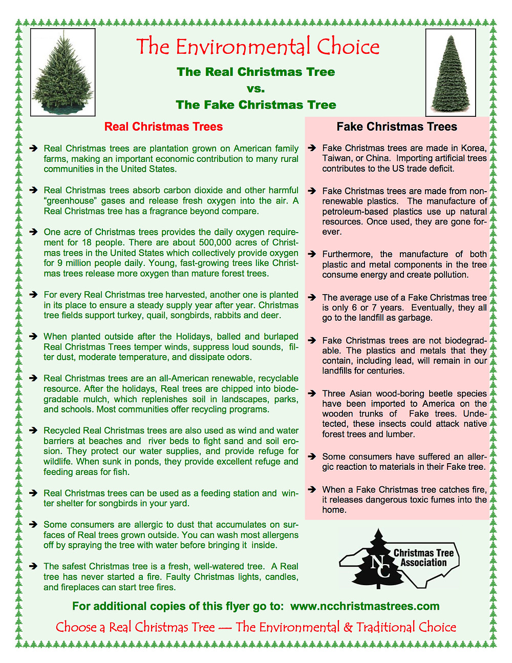 Environmental choice comparison of the pros and cons of using Real vs fake Christmas trees