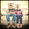 two people with paper bags over their head with cartoon face drawn on, Miscellaneous Etiquette Poll Category
