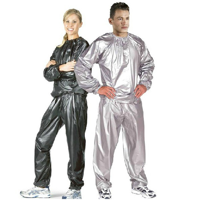 Man and woman standing in ridiculous foild track suit