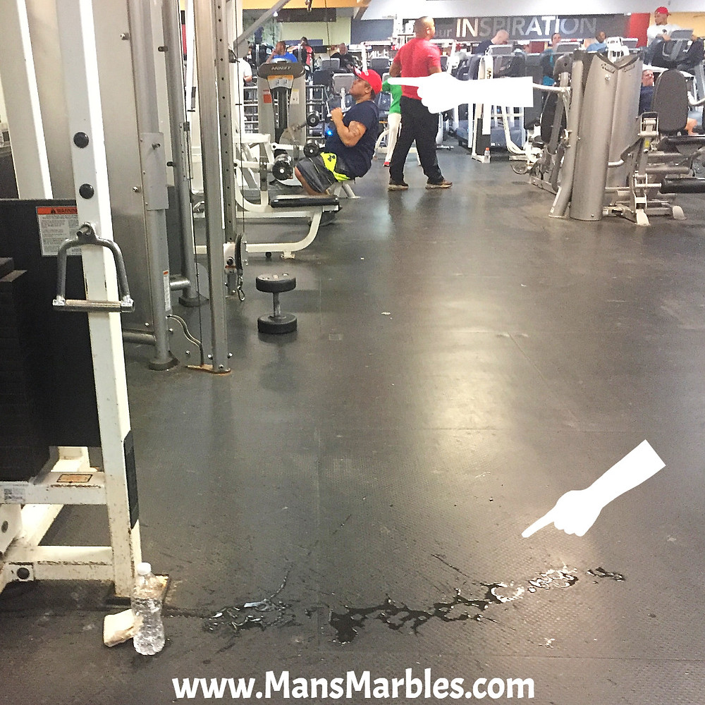 Man refuses to clean up his water spill in the gym