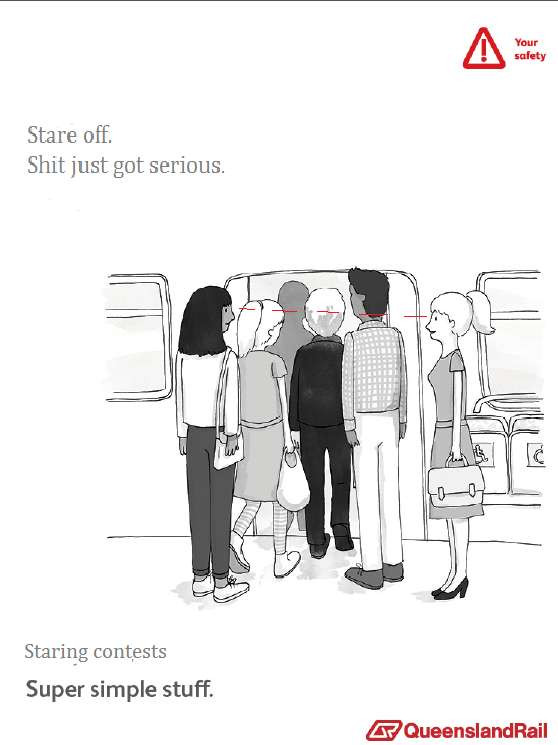 Train etiquette parody poster, stare off, shit just got serious