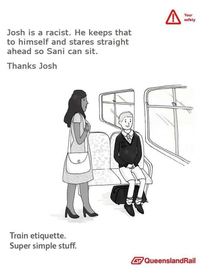Train etiquette parody poster, josh keeps his racism to himself as a black woman passes, thanks josh