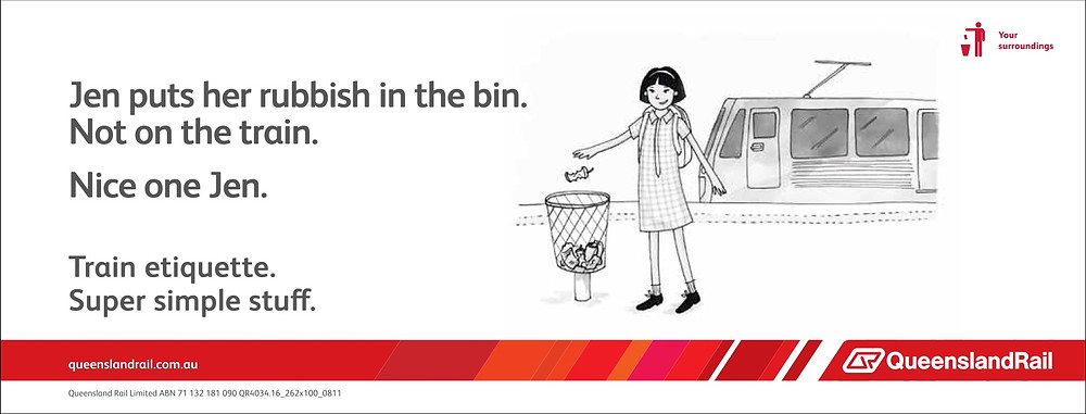 Train etiquette poster, nice one Jen, puts her rubbish in the trash can and not on the train