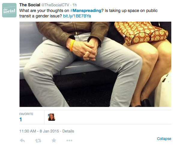twitter Example of manspreading 3